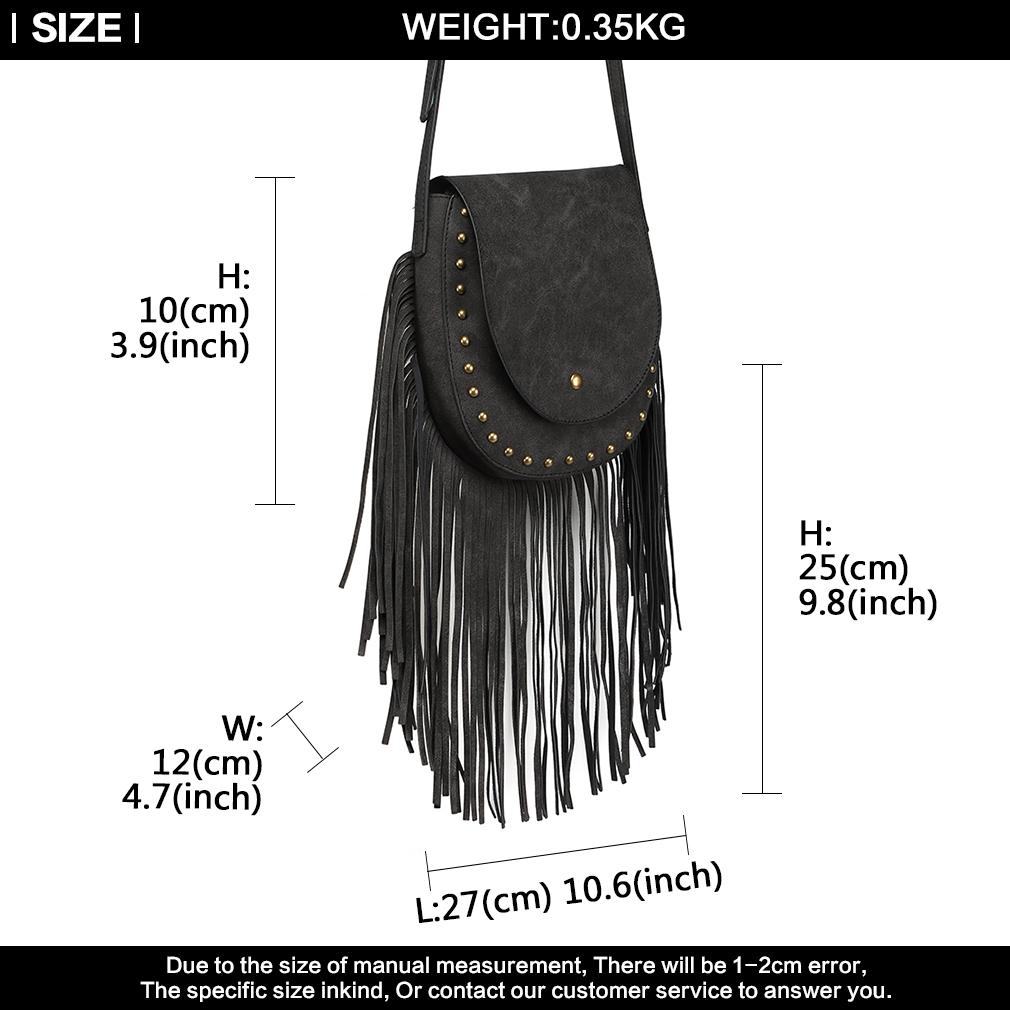 5ccc21e5b0007 Lange Tassel PU Leder Damen Cross Body Bag Nieten Messenger Schulter ...