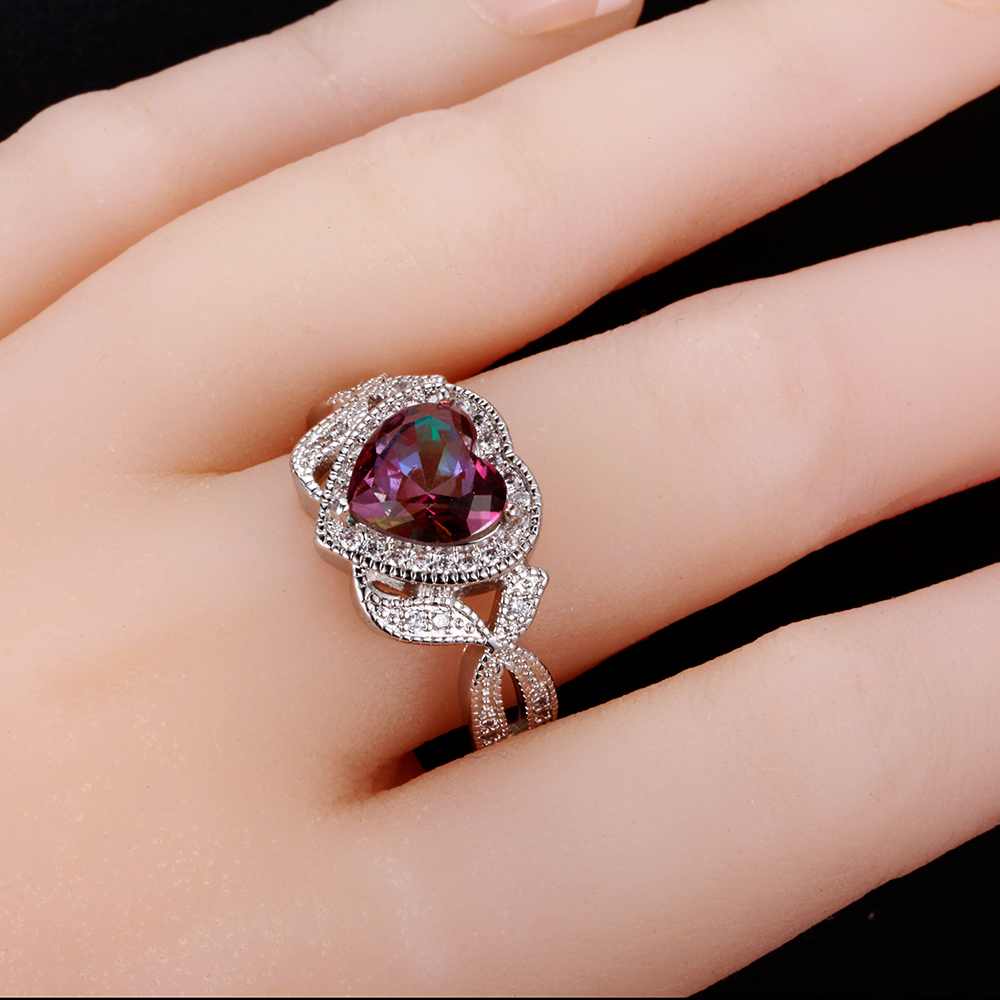 925 Silver Mystic Rainbow Topaz Heart Ring Wedding Engagement ...