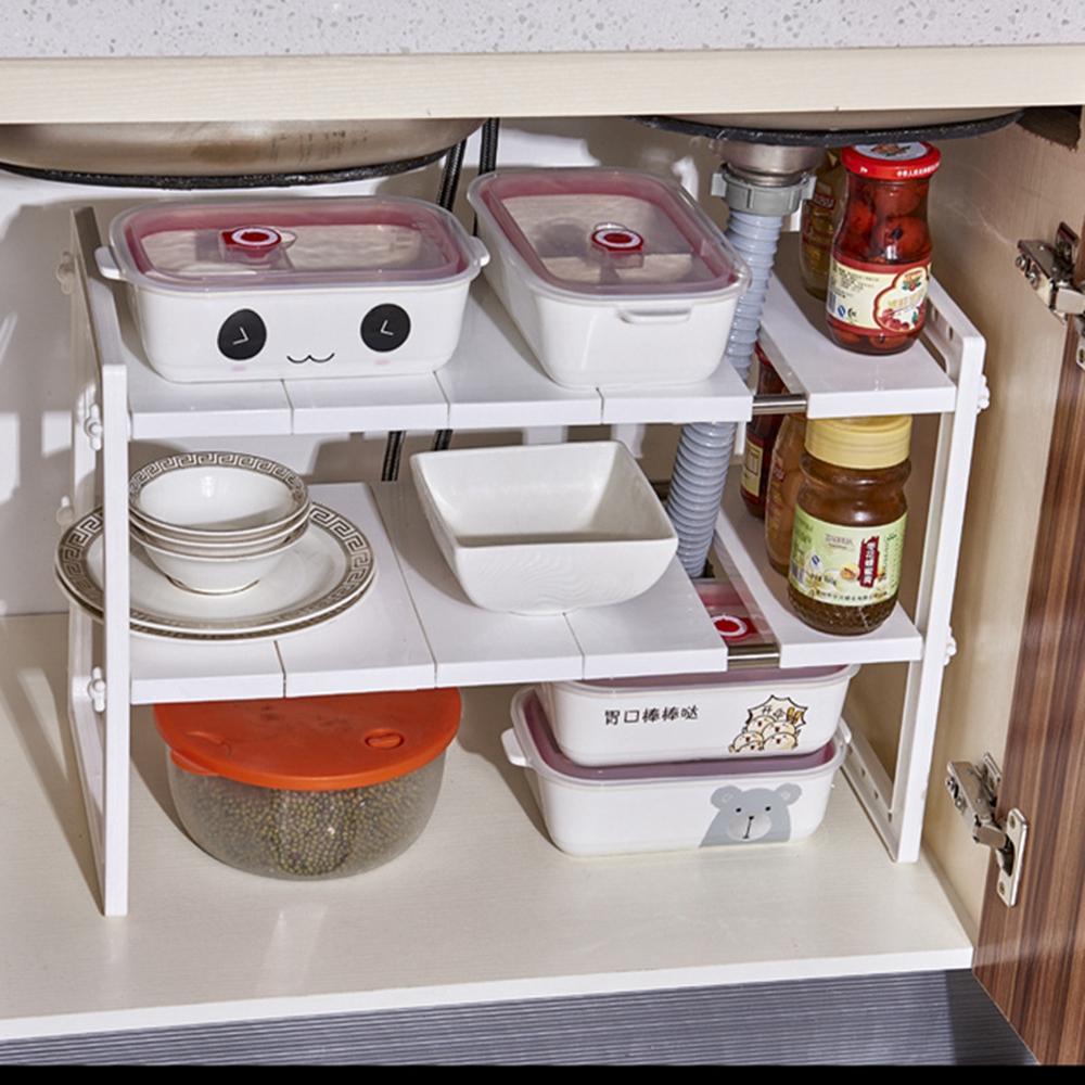 3 Tier Shelf Organizer Under Sink Rack Cabinet Storage: Under Sink 2 Tier Expandable Shelf Organizer Rack Storage