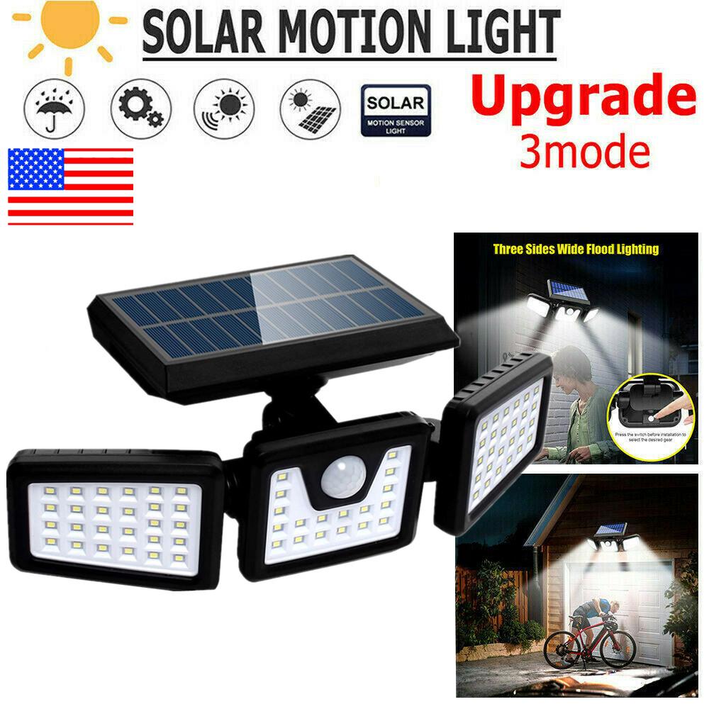 3Heads Outdoor Solar Wall Lamp 128LED Motion Sensor Rotatable Street Spot Light