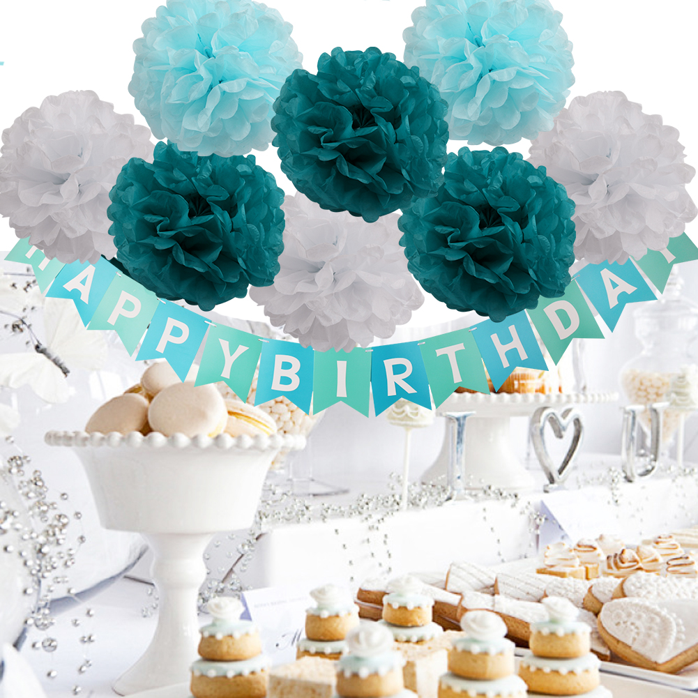 Details About Festive Party Decor Pom Flower Paper Hy Birthday Banner Ceremony