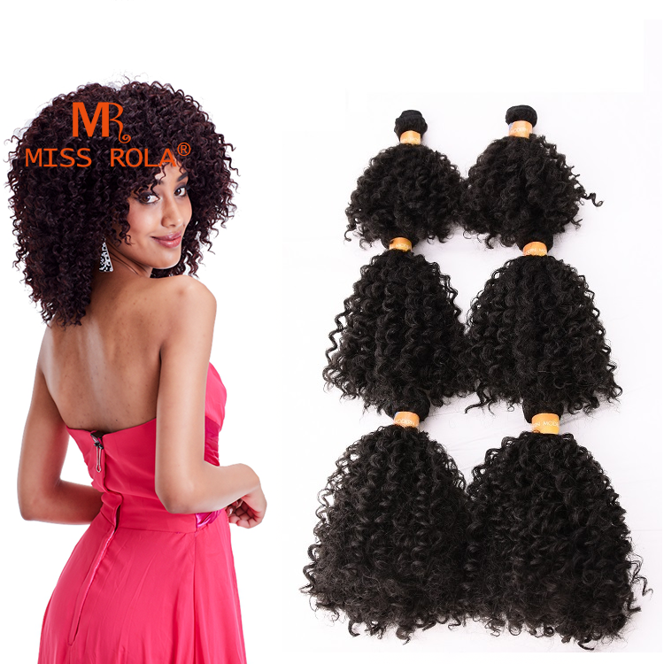 6 Bundles Afro Kinky Curly Hair Extensions As Human Hair Synthetic