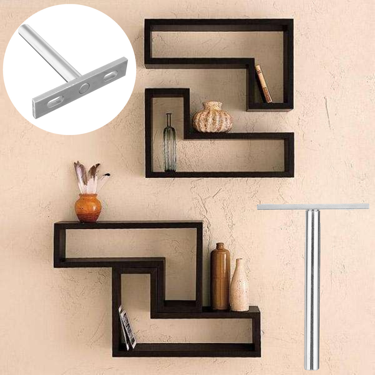 10 x blind wall shelf support floating concealed hidden shelf metal bracket set