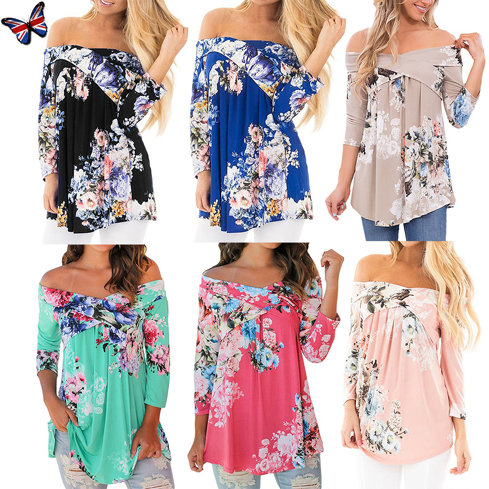 1d6383ffdcd1c7 UK Plus Size Women Off Shoulder Floral Ladies Holiday Summer Tops T-Shirt  Blouse