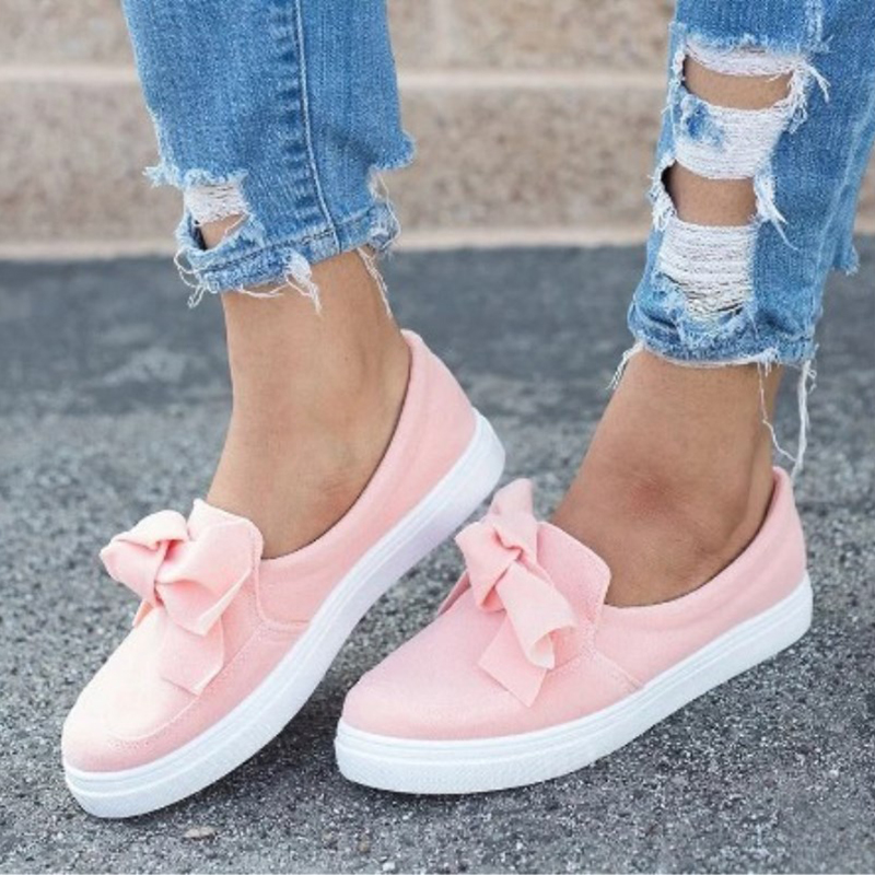 UK Womens Low Heel Flatform Slip On Sandals Loafers Ladies Bow Pumps Shoes Size