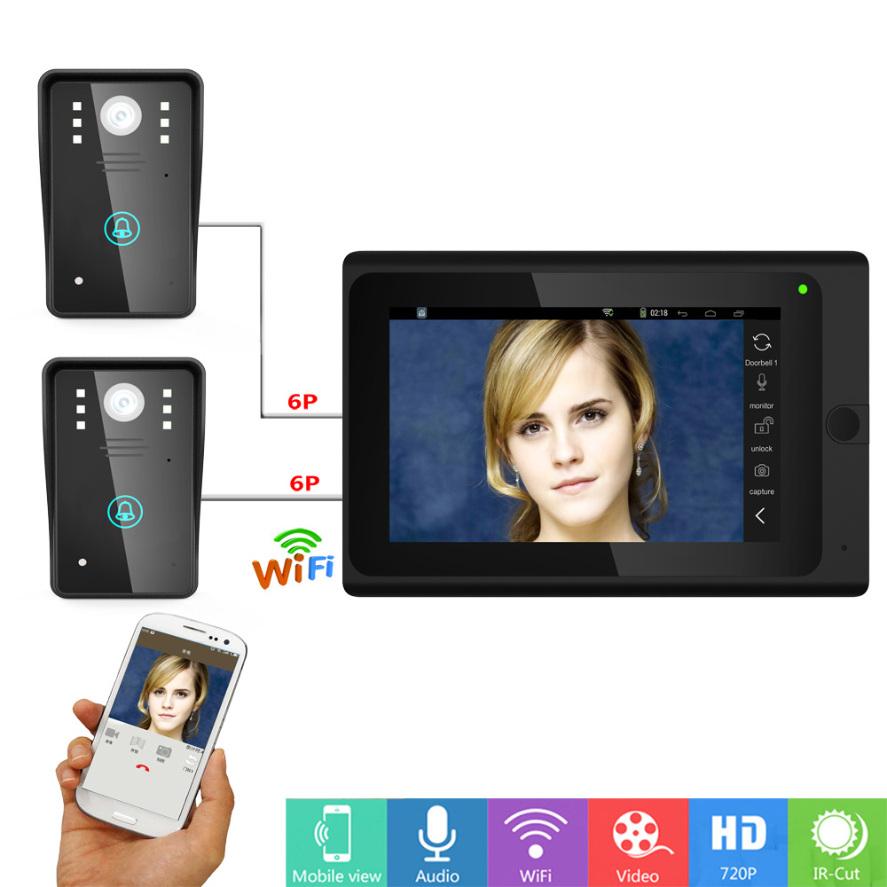 7 Lcd Wired Wireless Wifi Ip Video Door Phone Doorbell Intercom