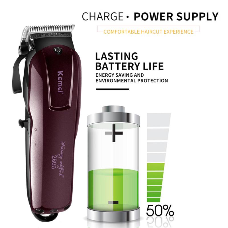 Professional Electric Hair Clipper Cordless Magic Kemei KM-2600 Quick Charging