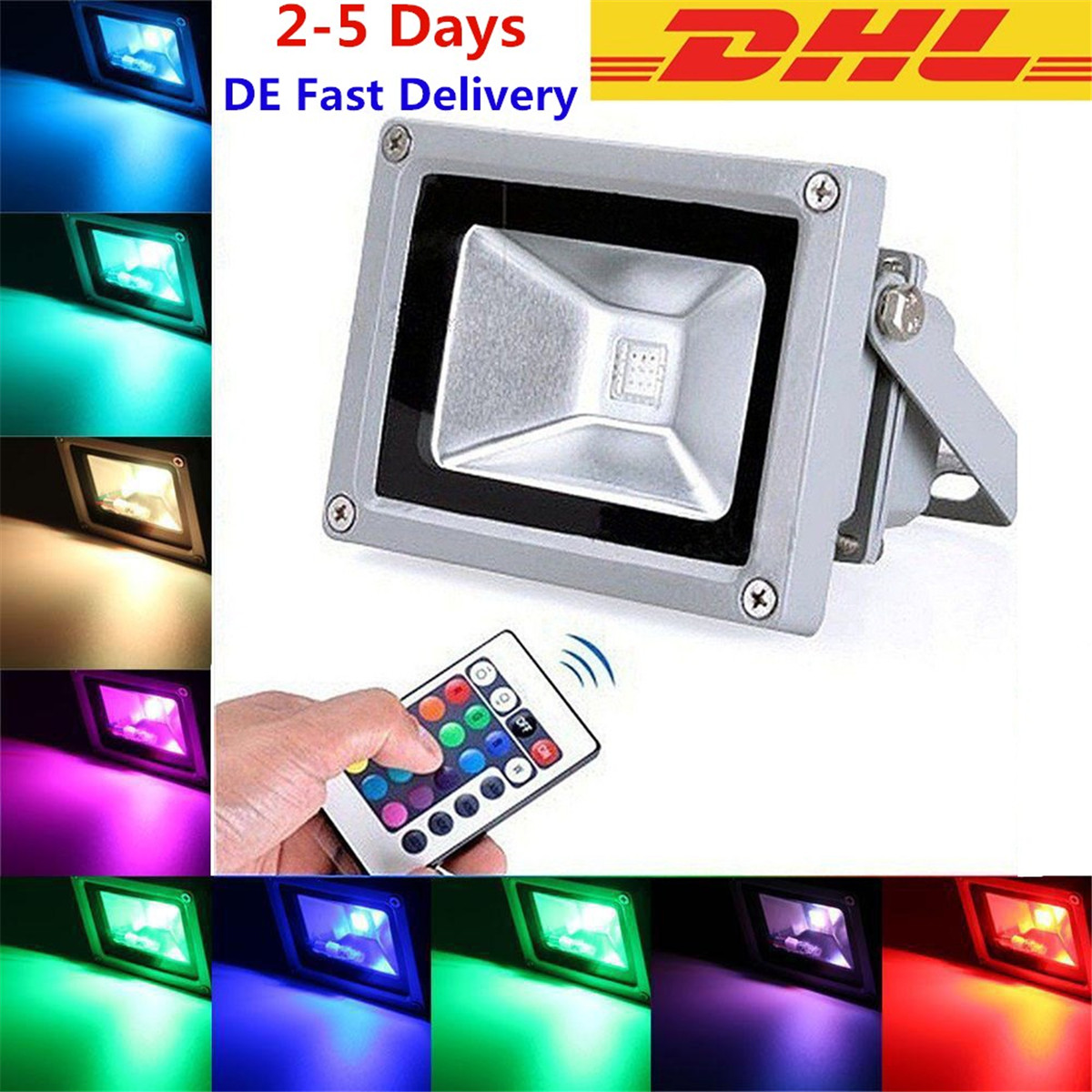 5x 10W RGB LED Lampe Strahler Fluter Flutlicht Farbig Wasserdicht ...