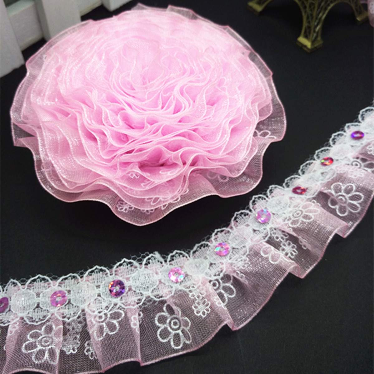 DIY 5 yards 25mm 2-Layer Organza Lace Gathered Pleated Sequined Trim White#15