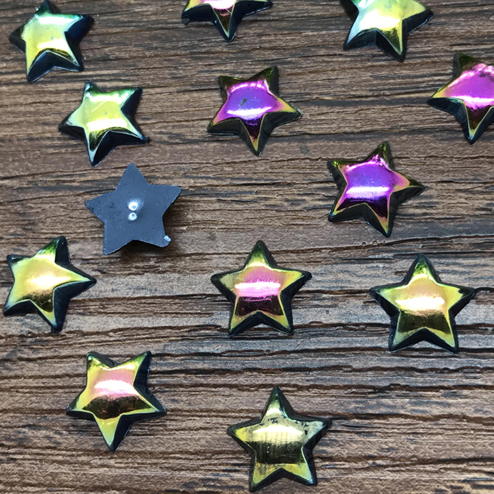NEW DIY 10mm 100pcs smooth Resin Star Flat back Scrapbooking Craft beads mixing