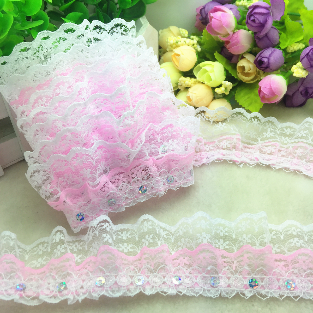 New Hot 5 yards 4-Layer 55mm Pink organza Lace Gathered Pleated sequined Trim