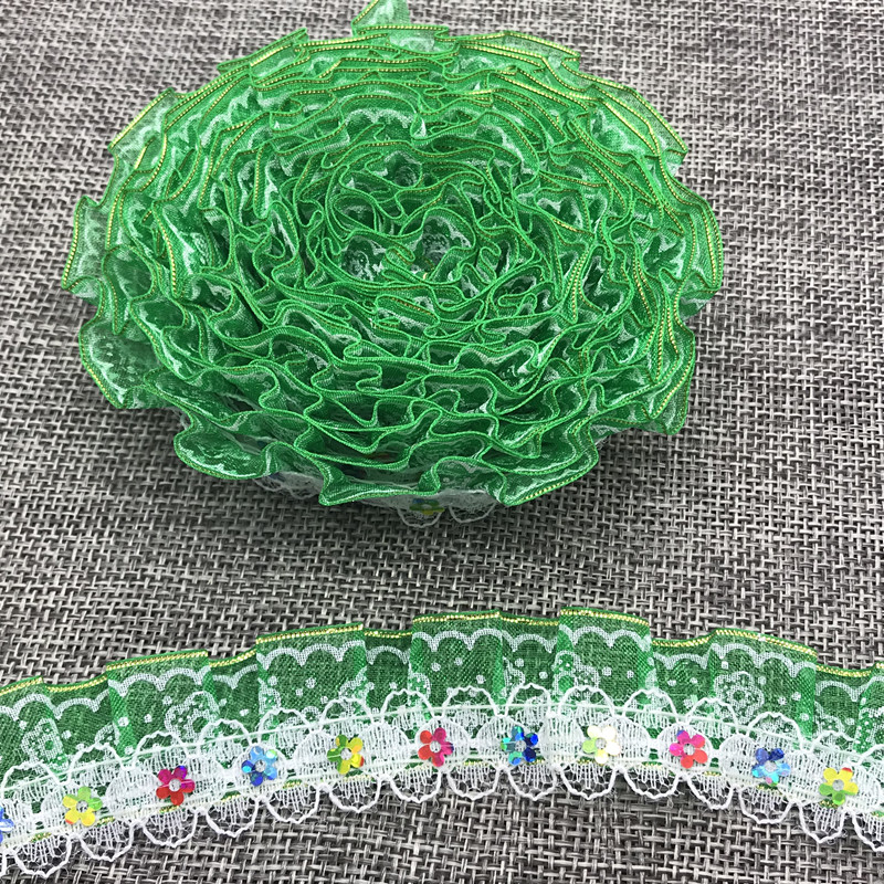 1//3//5//20 yards 25MM 3-Layer Organza Lace Gathered Pleated Sequined Sewing Trim U