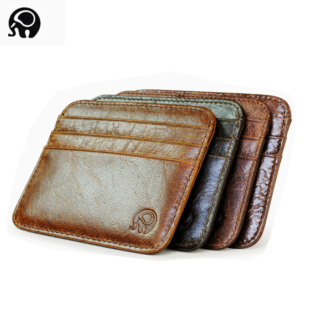 Slim Men/'s Money Clip Pocket Minimalist Genuine Leather Mens Vintage Wallet BL