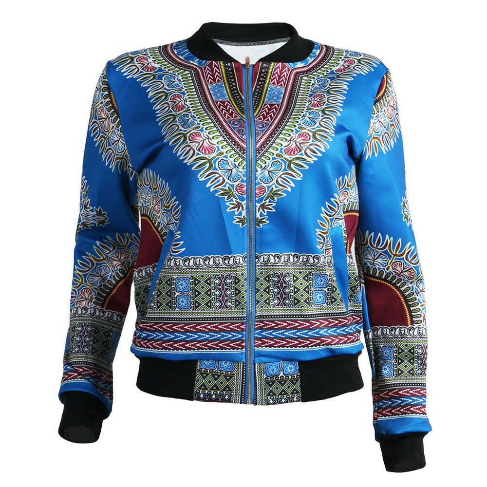 Fashion Casual Women Dashiki Long Sleeve African Print Dashiki Short Jacket Coat