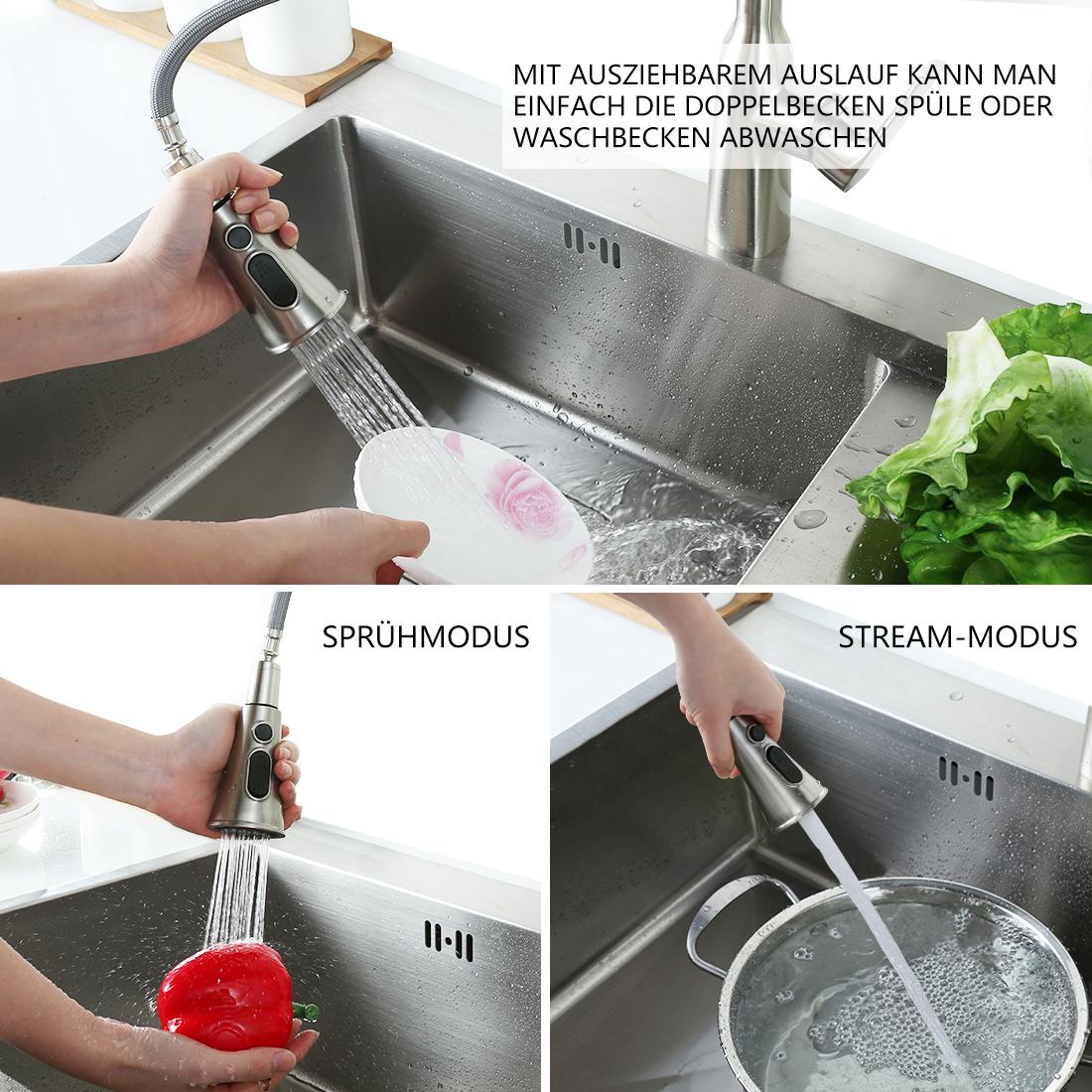 360°Drehbar Edelstahl304 Ausziehbar Spültischarmatur Küchen Wasserhahn m// Brause