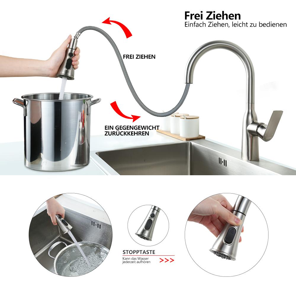Details zu Mischbatterie Armatur Ausziehbar Wasserhahn mit Edelstahl  Brausekopf Küche