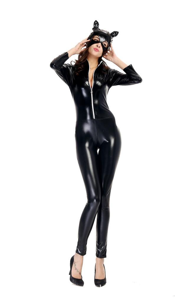 Details about [EL] Female Sexy Patent Striptease Dress Metal Wetlook  Clubwear Sexy Cat