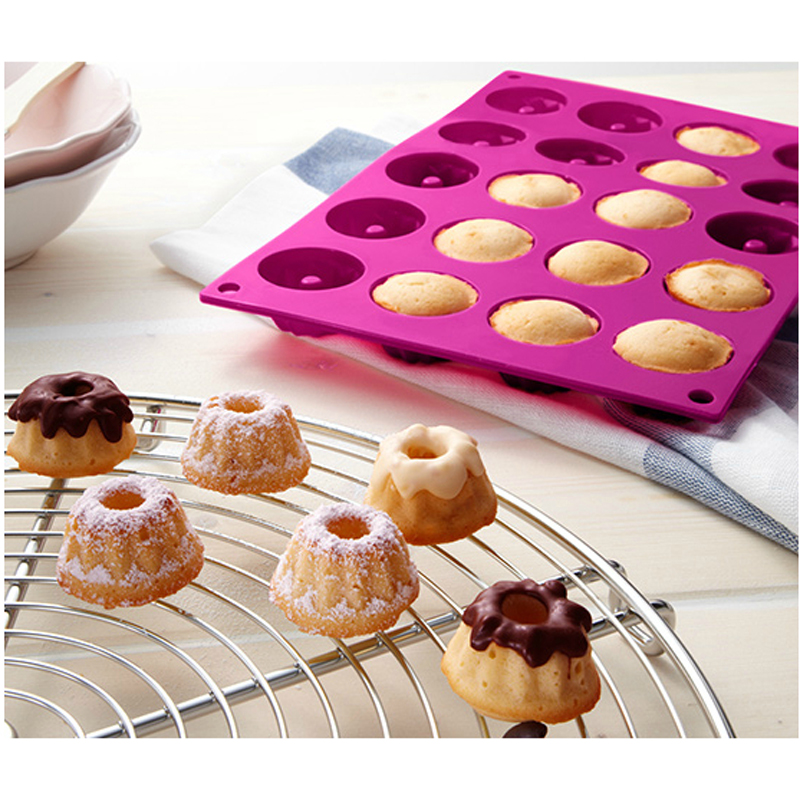 20 Cavity Mini Fancy Bundt Savarin Cake Pan Silicone Mold