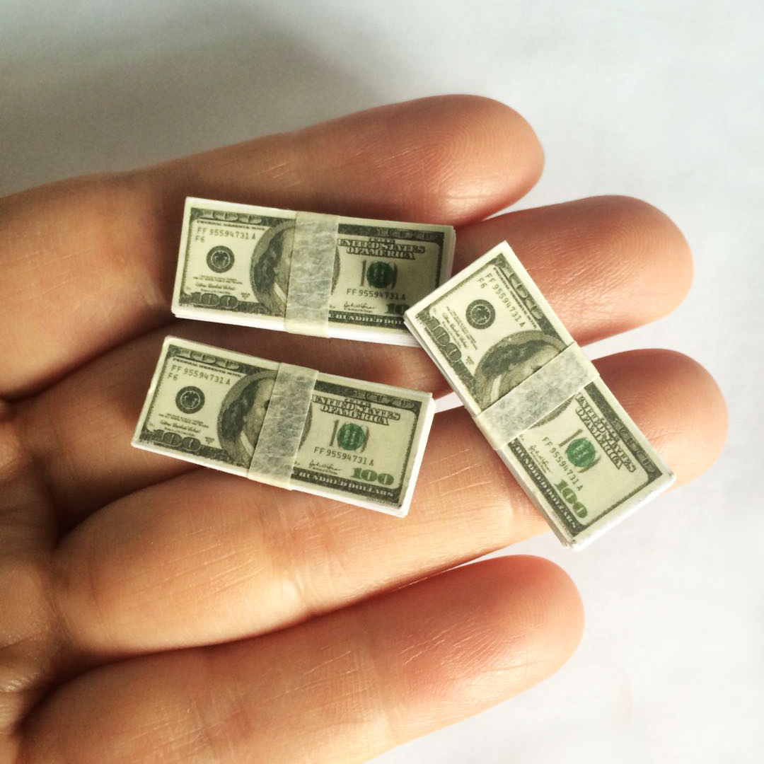 """1//6th Scale A stack of 100 dollars Cash Model For 12/"""" Action Figure Scene props"""