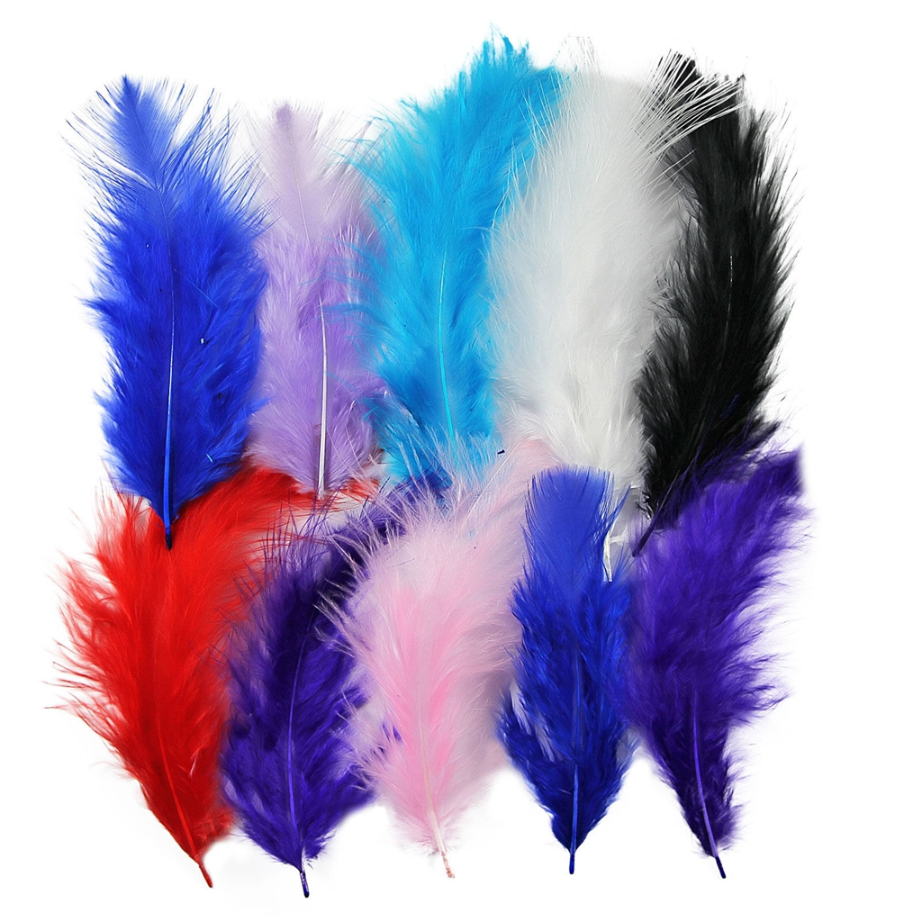 100pcs Large Fluffy Turkey Feather 10-15cm Card Making Crafts Embellishments New