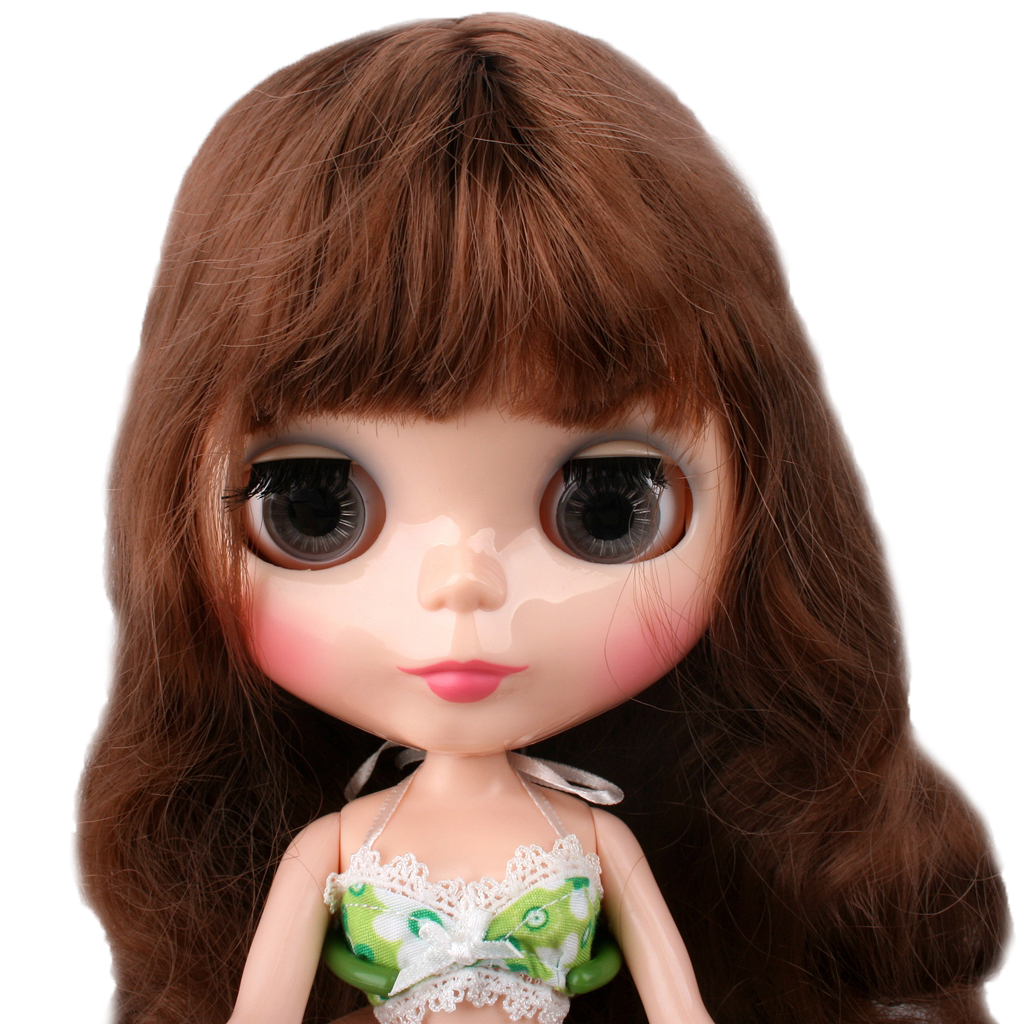 """PF 12/"""" Doll 1//6 Doll 7 Combined With Brown Long Hair ~ Translucent Gloss"""