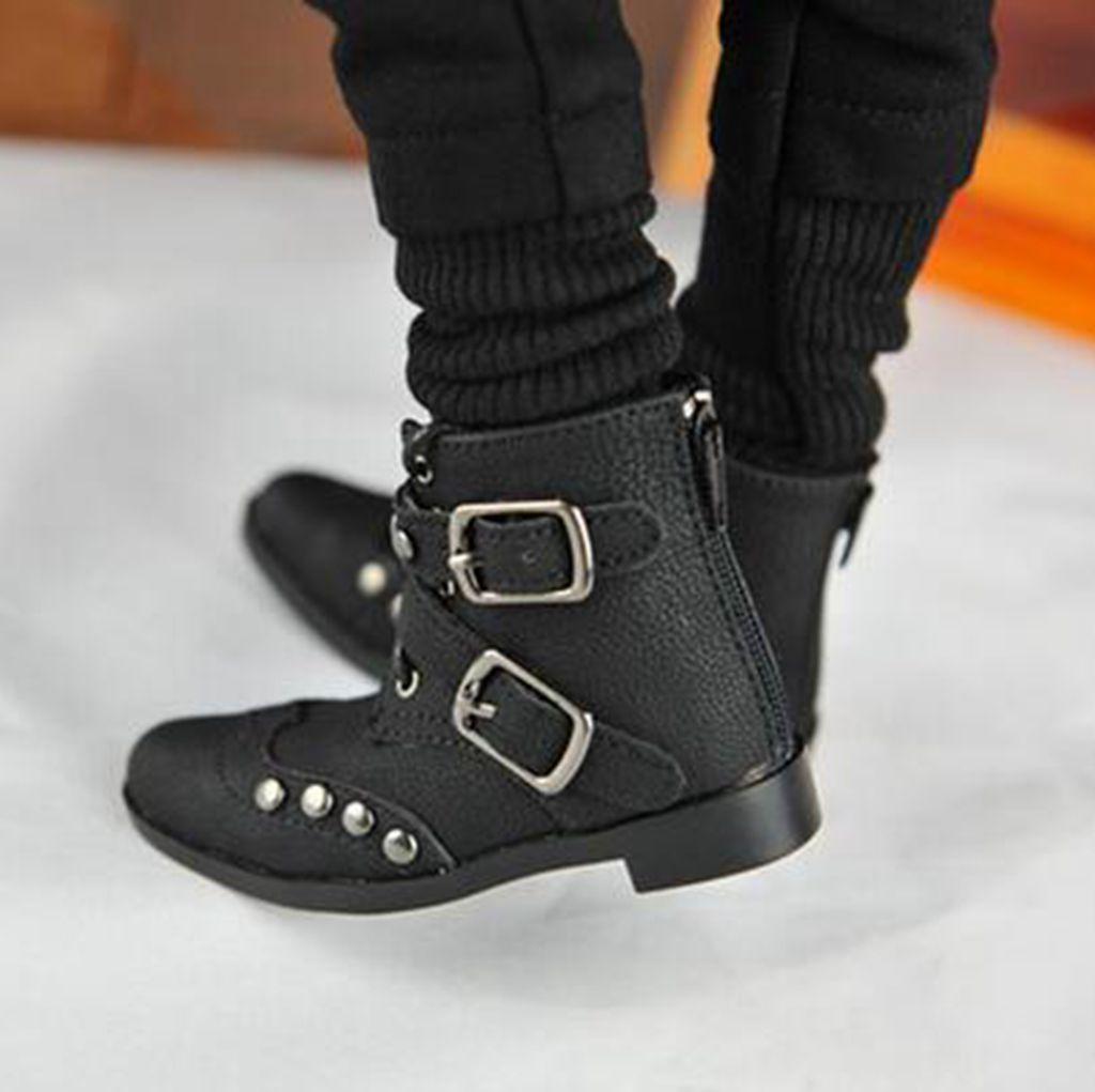 PF 19# Black Rivet 1//3 SD17 DZ70 BJD AOD Dollfie Synthetic Leather Boots//Shoes
