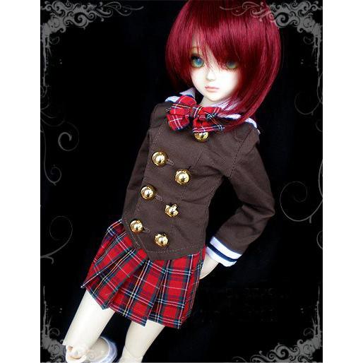 248# Red Plaid Dress//Suit//Outfit 1//3 SD AOD DZ LUTS BJD dollfie PF