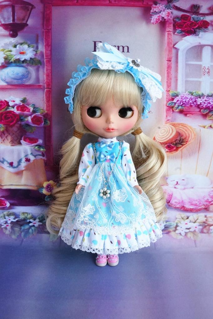 92# Cute Handmade Lolita Red Dress For Takara Blythe Pullip Babydoll PF