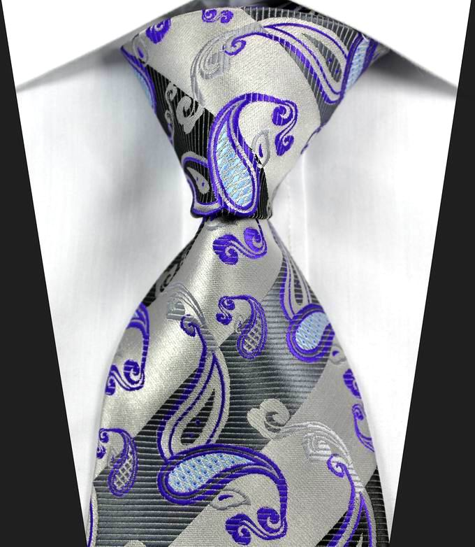 Hot Classic Paisley Black Gray Silver JACQUARD WOVEN 100/% Silk Men/'s Tie Necktie