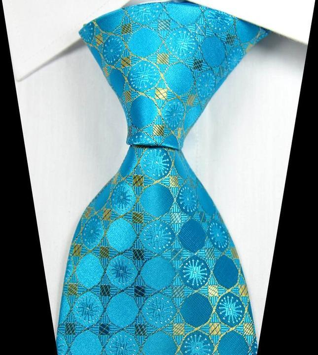 Hot Classic Geometric Gold Pink Blue JACQUARD WOVEN 100/% Silk Men/'s Tie Necktie