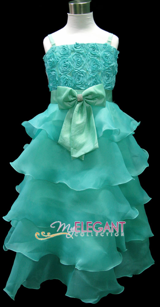 Details about Green Rosette Pageant Wedding Flower Girls Dress Long Gown  Size 4 Age 3,5 Years