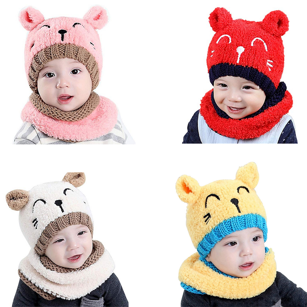 6ff3a4fe88d Details about Baby Boys Hats Baby Girl Hats Knitted Lovely Soft Winter Hat    Scarf Toddler Kid