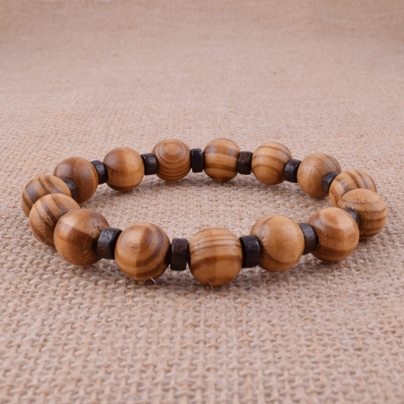 Natural Wood 12mm Beaded Fashion Cool Men Bracelet Charm Bangle Wrist Gift