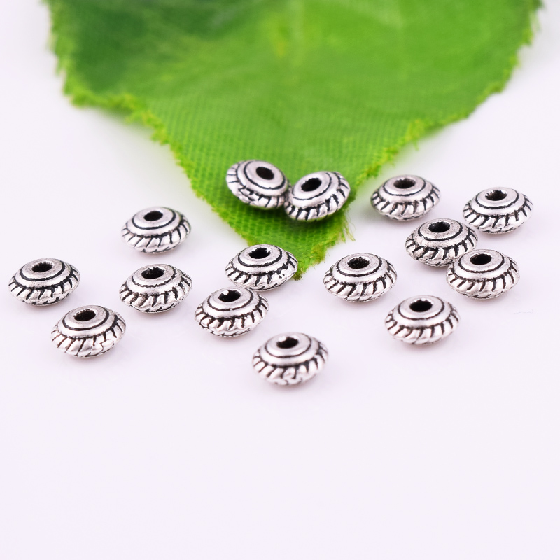 100pcs Tibet Silver Heart Loose Spacer Beads Pendant Jewelry Finding 5x4mm