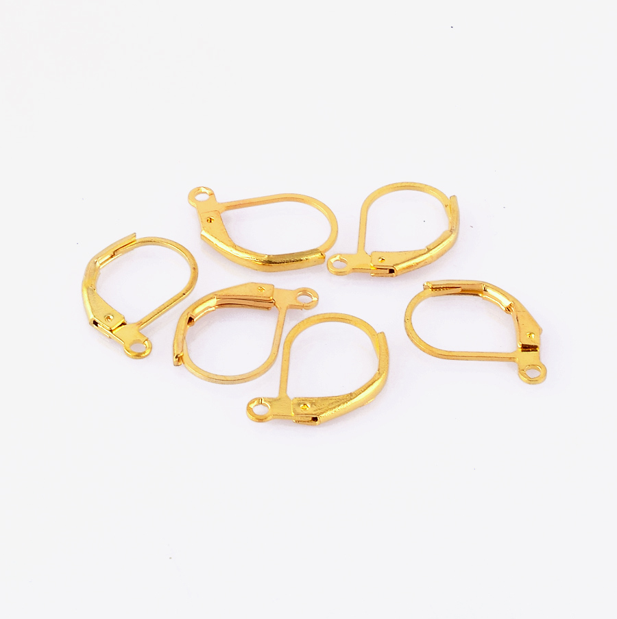 Gold Plated French Hooks Earring Wires Leverback Jewelry Finding Wholesale 16mm