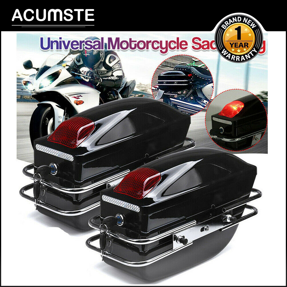 Hard Saddle Bags Trunk Luggage Motorcycle w/ Lights For Honda harley Cruiser