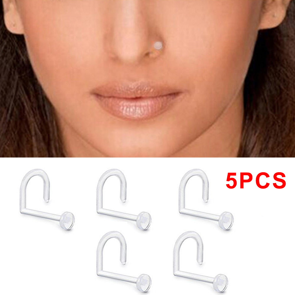 20g Clear Flexible Acrylic Nose Screw Ring Stud Piercing Retainer