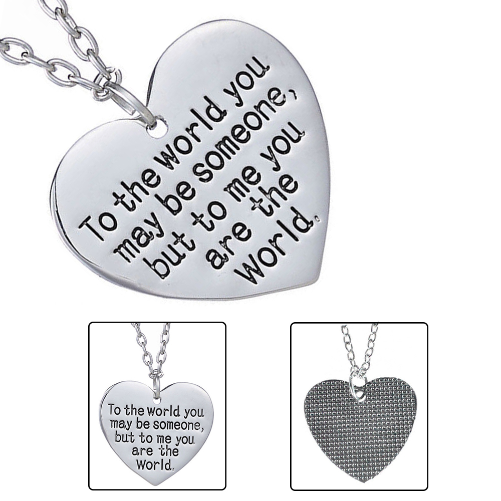 Details About Mothers Day Birthday Gift Mom Wife You Are The World Heart Necklace Great