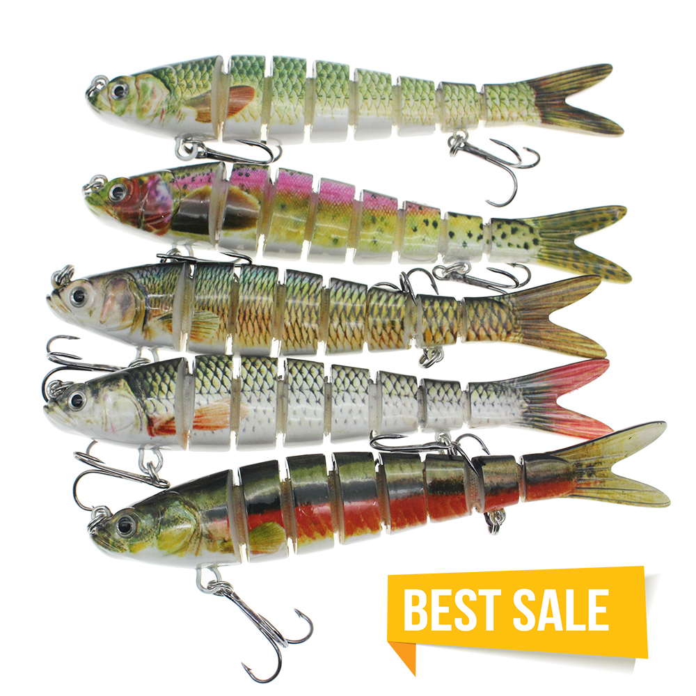 5pc 4 Segment Multi Jointed Fishing Lure Minnow Crank Baits 2 Hooks Swimbait