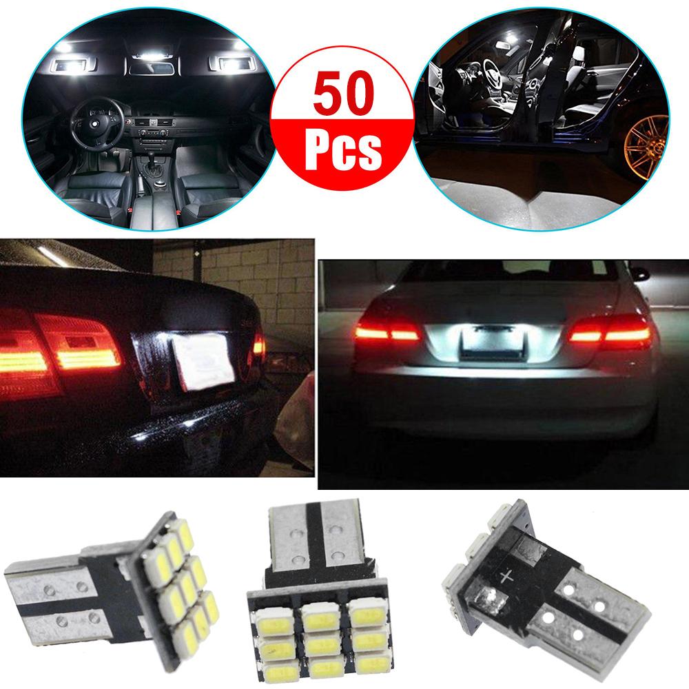 10Pcs T10 LED White 9SMD Car License Plate Light Tail Bulb 2825 192 194 168 W5W