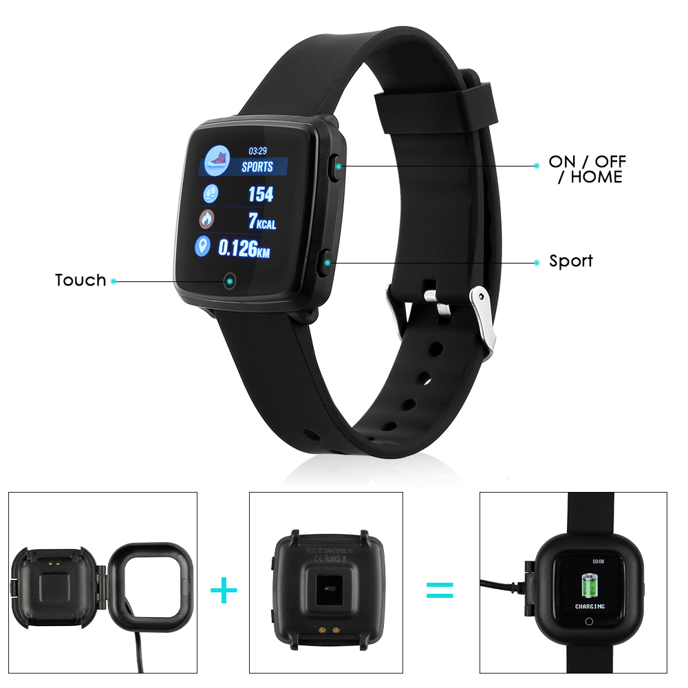 smartwatch bluetooth herzfrequenz puls blutdruck fitness. Black Bedroom Furniture Sets. Home Design Ideas