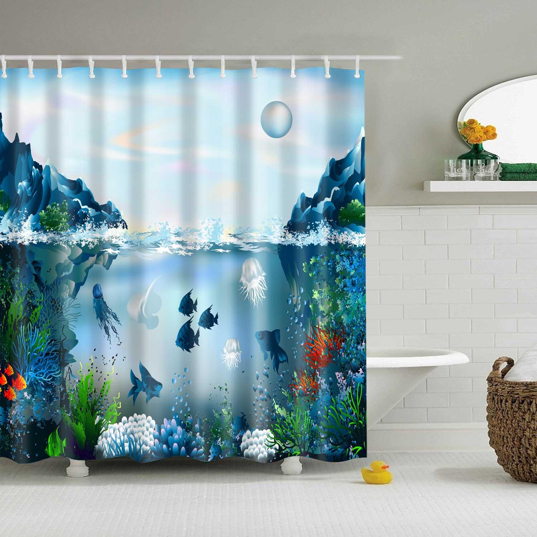 Ocean Coral Tropical Fish Turtle Shower Curtain Waterproof