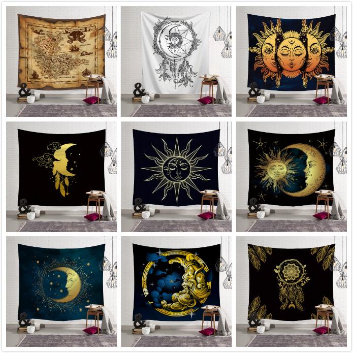 Sun Moon Tapestry Bohemian Throw Wall Hanging Home Decor Blanket Room Bedspread