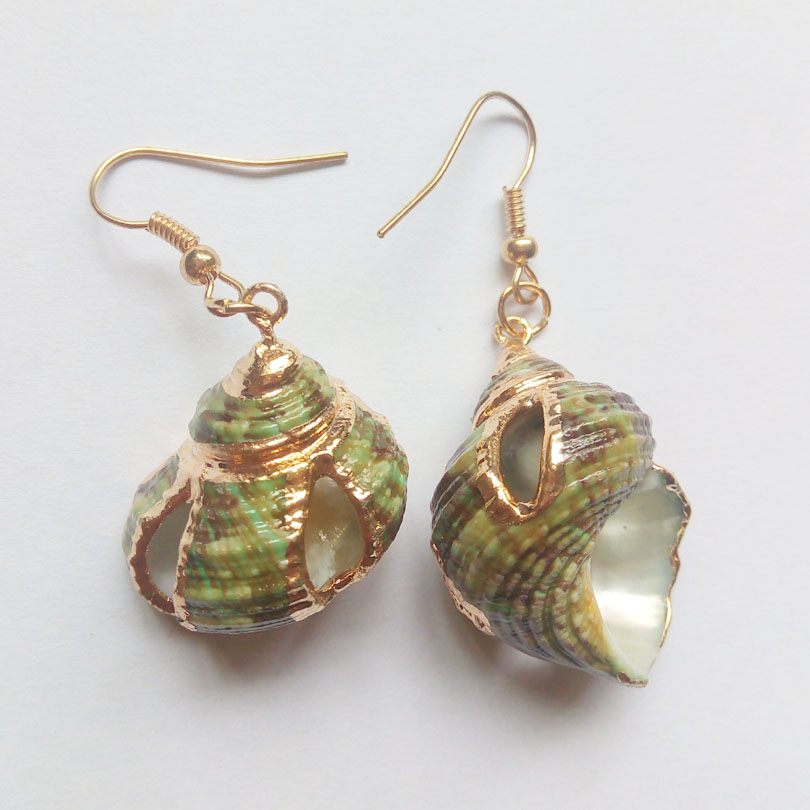 Gold Color Sea Shell Conch Earrings Dangle Drop New Style Fashion