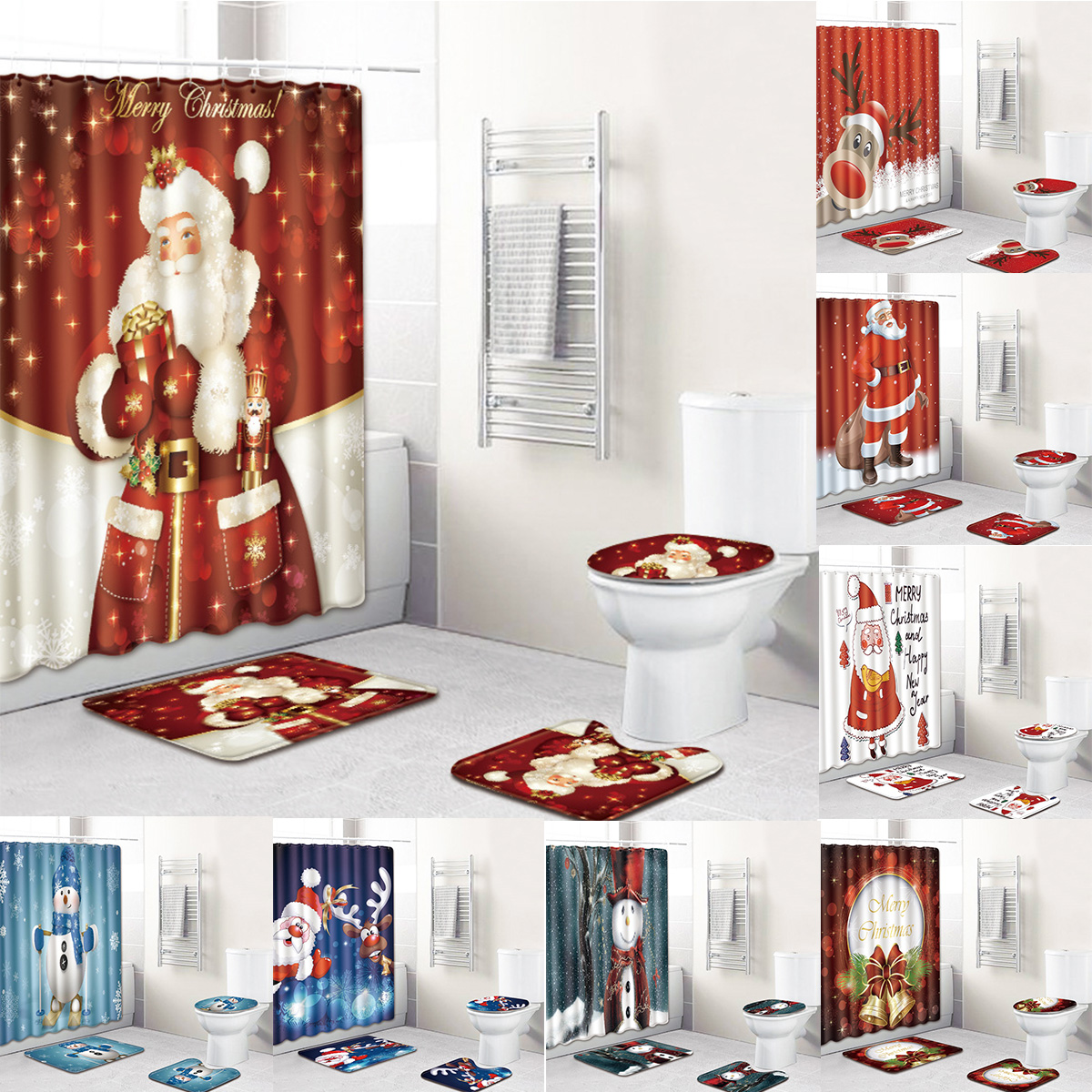 Christmas Reindeer And Sleigh Waterproof Fabric Bathroom Shower Curtain 71Inch