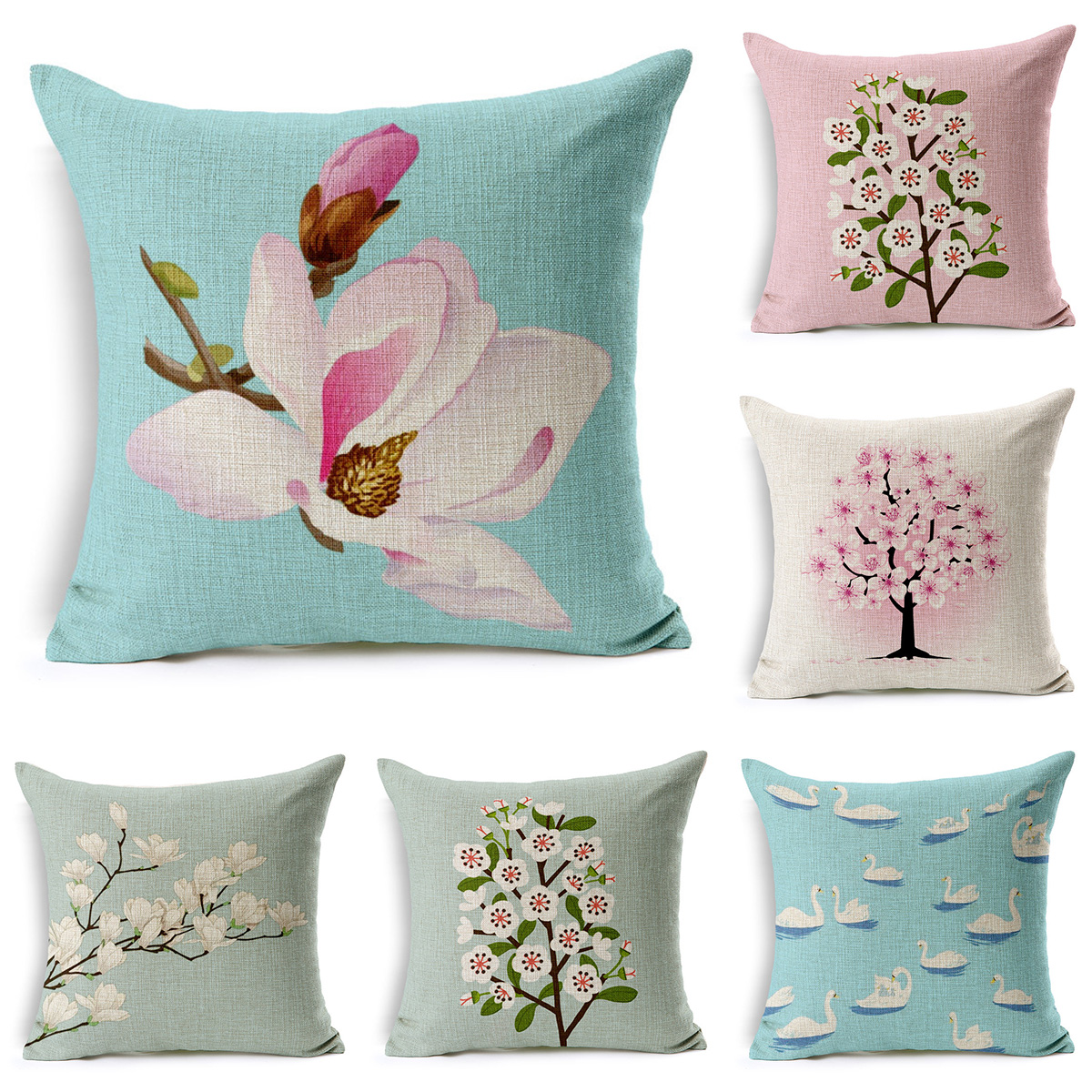 Home Decor Hand Painted Flower Cushion Cover Cotton Linen Throw