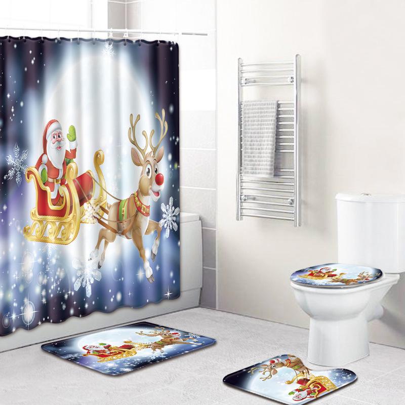 4 Piece Merry Christmas Shower Curtain Santa Claus Reindeer Snowman Bath Mat Rug