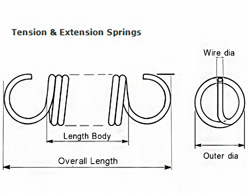 Wire Dia 1.6mm OD 10-16mm Long 30 to 500mm Tension /& Extension Spring Select
