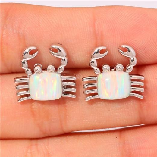1 Pair Woman Fashion 925 Silver Bird White Fire Opal Charm Earring Pendant