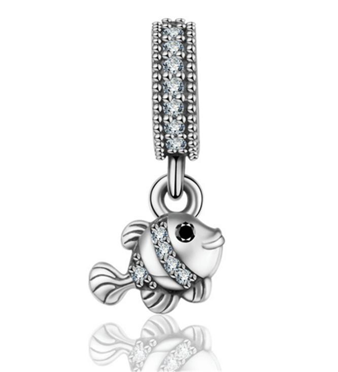 Fashion 925 Silver Crystal CZ OWL Charm European Beads Fit Necklace Bracelet !!!